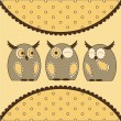 Cute Little Owls — Stock Vector