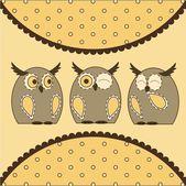 Cute Little Owls — Stock Vector