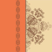 Orange, Beige and Brown Pattern with Lace Ribbon — Stock Vector