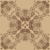 Beige and Brown Retro Ornament Pattern — Stock vektor
