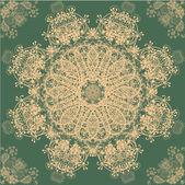 Beige and Green Retro Ornament Pattern — Stock vektor