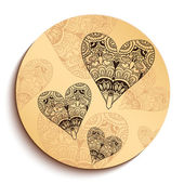Ethnic Wooden Plate with Hearts. Isolated on White — Stock Vector
