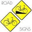 Bicycle yellow road signs — Stock Vector #45786007