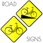 Bicycle yellow road signs — Vector de stock