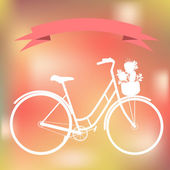 White bicycle on the colorful blured background — Stock Vector