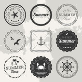 Set of 9 design summer elements, frames, borders — Stockvector