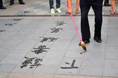 Ancient Chinese water calligraphy — Stock fotografie