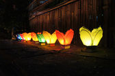 Colorful Paper Lanterns on the ground — Stock Photo