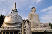 Silver Pagoda and buddha in Sri Lanka — Stock Photo