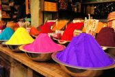 Bowls of vibrant colored dyes in India — Stock Photo