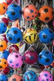 Multicolor footballs kids — Stock Photo