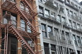 Fire escapes. New York. USA. — Stock Photo