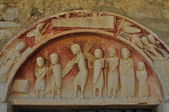 Tympanum. Romanesque church. Burgos. Spain. — Stock Photo
