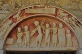 Tympanum. Romanesque church. Burgos. Spain. — Stock Photo