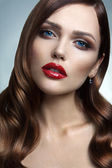 Portrait of beautiful girl with red lips. — Stock Photo