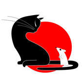 Cat and mouse — Vector de stock