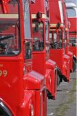 Routemasters buses in a row — Stock Photo