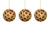 Toys for the Christmas tree, red-yellow balls on a white backgro — Stock Photo