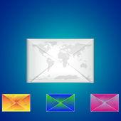 E-mail vector icon with earth background — Vector de stock