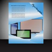 Brochure presentation template with electronic elements — Stockvektor