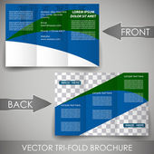 Business three fold flyer template, cover design or corporate brochure — Stock Vector