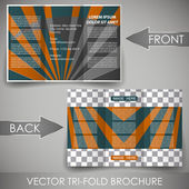 Business three fold flyer template, corporate brochure or cover design — Stok Vektör