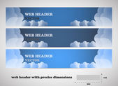 Web headers with precise dimensions, set of vector banners — Stock Vector