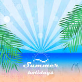 Summer holidays background in retro style with palms — Stock Vector