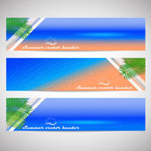 Web headers with summer holiday theme, set of vector banner — ストックベクタ