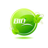 Bio product button, green leaves — Vector de stock