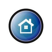 House vector icon,  blue button — ストックベクタ