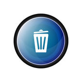 Trash basket Glossy vector icon, blue button — Stock Vector