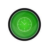 Clock, hour Glossy vector icon, green button — Stock Vector