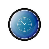 Clock, hour Glossy vector icon, blue button — Stock Vector