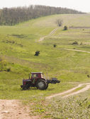 Tractor on the meadow — Stockfoto