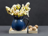 Chestnut buds, flowers and small leaves in a blue ceramic pot and walnuts — Stock Photo