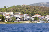 Greek landscape with sea and resorts — Stock Photo