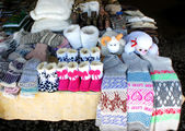 Trade in warm socks and slippers — Stok fotoğraf
