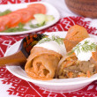 Stuffed cabbage rolls with rice and mushrooms — Stock Photo
