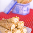 Wafer rolls with cream — Stock Photo
