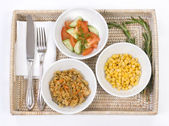 Three bowls with vegetarian dishes — Stock Photo