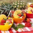 Fruit salad in colored bowls — Stock Photo