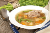 German soup with ribs and vegetables — Stock Photo