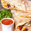 Tortillas with chicken, beans, corn and cheese — Stock Photo