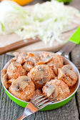 Meatballs with mushroom sauce — Zdjęcie stockowe