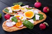 Fresh toast vegan sandwiches — Stock Photo