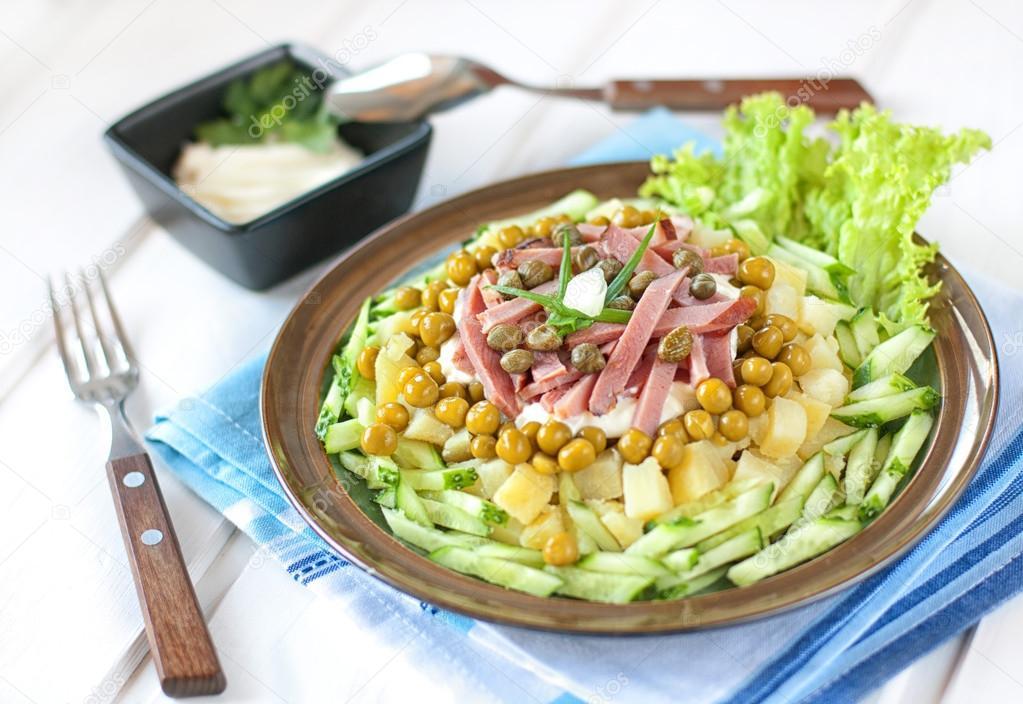 Салат картофель ветчина огурец