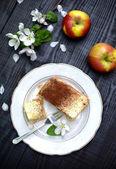 Apple pie with custard — Stock Photo