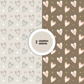 Seamless patterns of hearts — Stock Vector