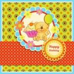 Birthday card with Teddy bear — Stock Vector #36826457